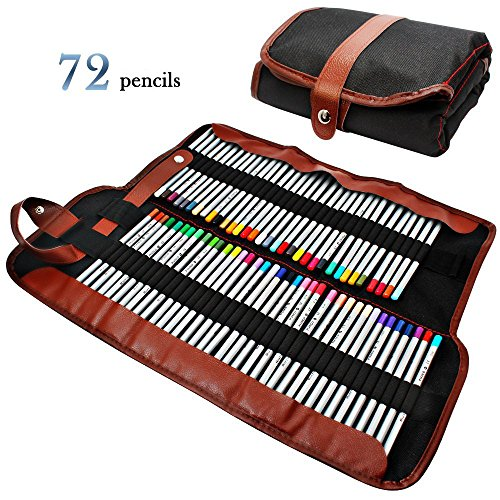 GHB 72 Colori Matite Colorate Matite Colore Matite Disegno Matite Multicolore per Pittura Disegno con Roll-Up Canvas Matita Wrap