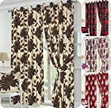 Luxury SEREN Pair of fully Lined HALF PANAMA CURTAINS with TIE BACKS- Ready Made Stylish & Multi-Flowers CURTAINS - 5 Colors- UK Sizes (66
