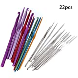 22 Pcs Aluminum Crochet Hooks Set Multi Coloured Knitting Needles for DIY Handcraft Weave Craft Hand Sewing Tool by SamGreatWorld (Color: 22pcs Crochet)