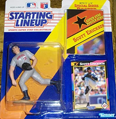 1991 - Kenner - Starting Lineup - MLB - Scott Erickson #19 - Vintage Action Figure - Minnesota Twins - w/ Trading Card & 11x14 Poster - Rare - Limited Edition - Collectible