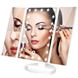 Minilabo Vanity Mirror Light Touch Trifold Dimmable Led Makeup Mirror with Magnifier Vanity Mirrors (2X /3X) 180°RotatableDegree, 3Panel Vanity Mirror of Dual Recharge Ways (White) (Color: White)