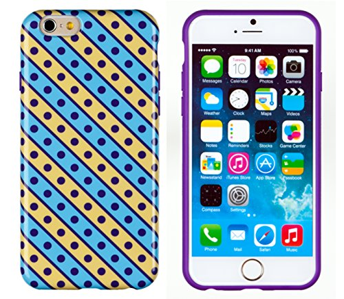 """Iphone 6 Case, Dandycase Perfect Pattern *No Chip/No Peel* Flexible Slim Case Cover For Apple Iphone 6 (4.7"""" Screen) - Lifetime Warranty [Stripes & Dots] front-915529"""