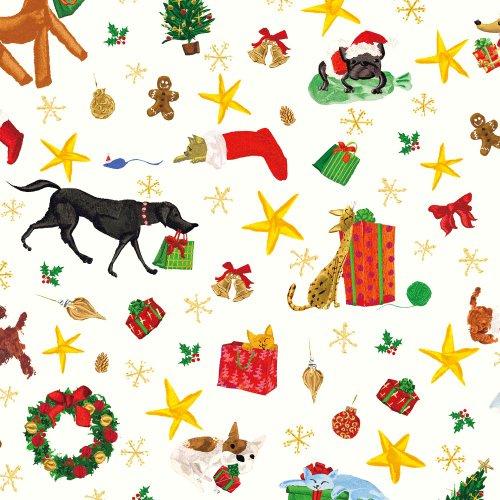 Caspari Geschenkpapierrolle 244 cm lang Weihnachtsmann-Helfer
