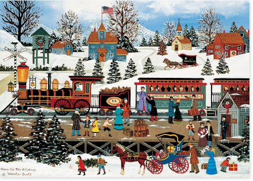 Winter Train Station Deluxe Boxed Holiday Cards (Christmas Cards, Holiday Cards, Greeting Cards)