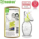 Haakaa Breast Pump with Suction Base and Flower Stopper 100% Food Grade Silicone BPA PVC and Phthalate Free (5oz/150ml) (White) (Color: White)