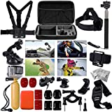 XCSOURCE Gopro Accessories Set for Gopro Hero 2 3 3+ 4 including Wrist Strap Mount +Chest Belt Strap Mount + Head Belt Strap Mount + Extendable Handle Monopod Pole +Suction Cup Mount + Flat/Curved Adhesive Mounts + Floating Grip + Mini Camera Tripod + Large Carry Bag OS095
