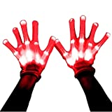 Led Dancing Skeleton Gloves, Hand Flashing Light Shows Halloween Costume, Novelty Christmas Gift (Red)