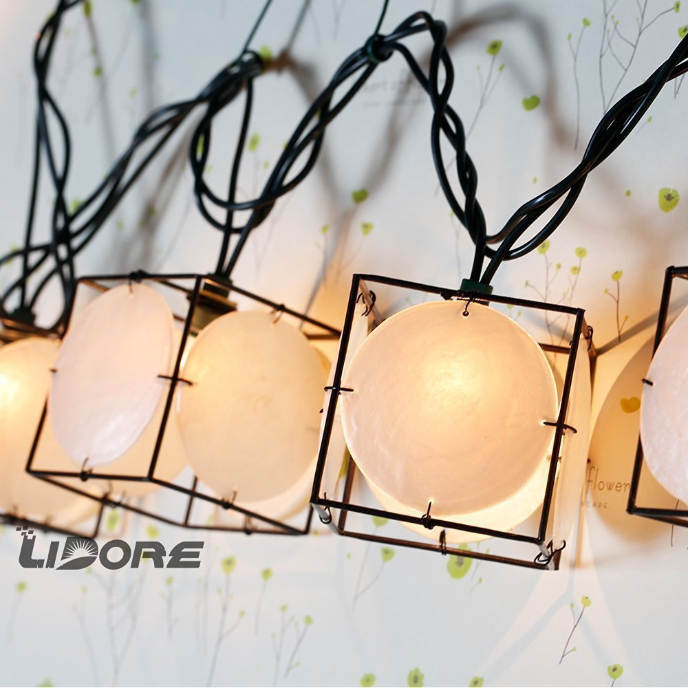 LIDORE Set of 10 Vintage style Square with Seashells String Lights. Ideal for home and simple decor 0