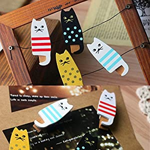 EnGive 4-Pcs Creative Wooden Cute Cat Home Garden Kitchen Snack Sweets Food Seal Storage Bag Clip Lock Clamp(Cute Cat)