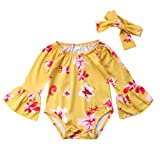Newborn Baby Girl Floral Bodysuit+Headnband 2pcs Summer Flare Sleeve Fashion Jumpsuit 0-24Months (0-6 Months, Yellow) (Color: Yellow, Tamaño: 0-6 Months)
