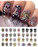 "Sugar Skull Nail Decals Assortment #1 Water Slide Nail Art Decals- Salon Quality 5.5"" X 3"" Sheet!"