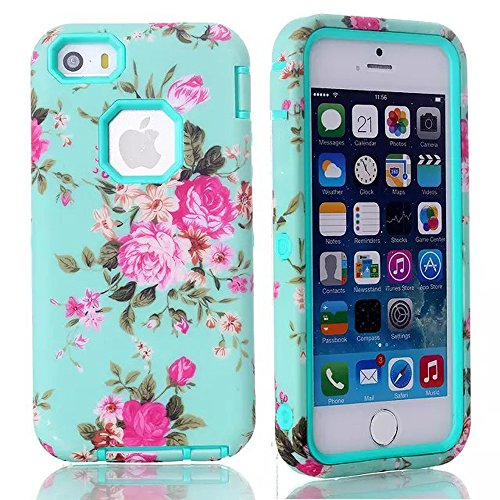 Meaci® Cellphone Case For Iphone 5C Case 3 In 1 Combo Hybrid Case With Rose Flower Smooth Luxury Pattern (Monthly Rose Type B Sky Blue)