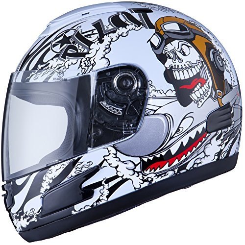 THH TS-31Y #7 Youth Full Face Motorcycle Helmet M White/Black