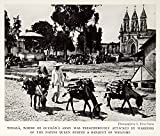 1934 Print Tonala Mexico Town Church Steeple Donkey Villager Historical NGMA3 - Original Halftone Print
