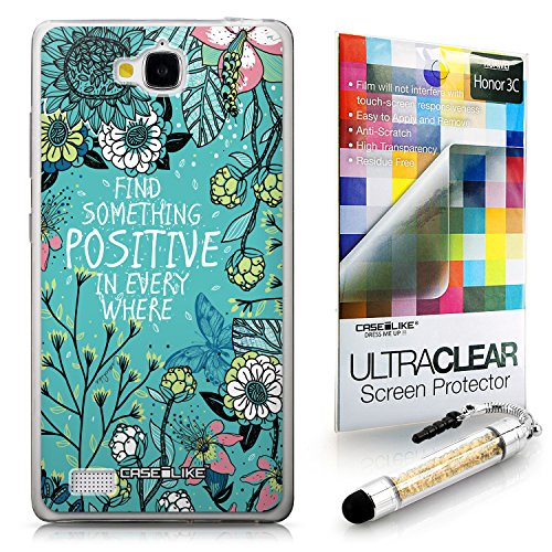 Click to buy CASEiLIKE Blooming Flowers Turquoise 2249 Ultra Slim Bumper Snap-on case back cover for Huawei Honor 3C +Screen Protector +Crystal Stylus Pens (Random Color) - From only $65.99