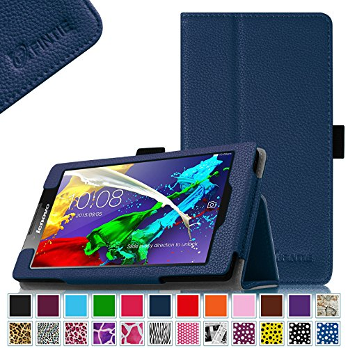 Fintie Lenovo Tab 2 A7-10 / A7-30 Folio Hülle Case Cover Tasche Etui - Premium Leder Schutzhülle mit Auto Sleep / Wake für Lenovo Tab 2 A7-10/ A7-30 17,8 cm (7 Zoll) IPS Android Tablet, Marineblau