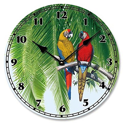 Colorful Pressed Wood Parrot Battery Operated Clock (Tropical Outdoor Clock compare prices)