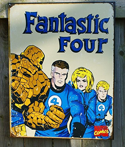 Fantastic Four Marvel Comics Distressed Retro Vintage Tin Sign (Marvel Sign compare prices)