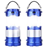 2 Pack Outdoor Camping Lamp, Portable Outdoor Rechargeable Solar LED Camping Light Lantern Handheld Flashlights with USB Charger, Perfect Hiking Fishing Emergency Lights - (2 Pack-Blue)