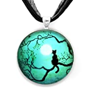 Black Cat Silhouette in Teal Handmade Jewelry Fine Art Pendant