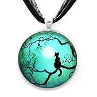 Black Cat Silhouette in Teal Handmade Jewelry Fine Art Pendant