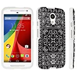 DuroCase ® Motorola Moto G 2nd Gen. 2014 Hard Case White - (Bandana Black)
