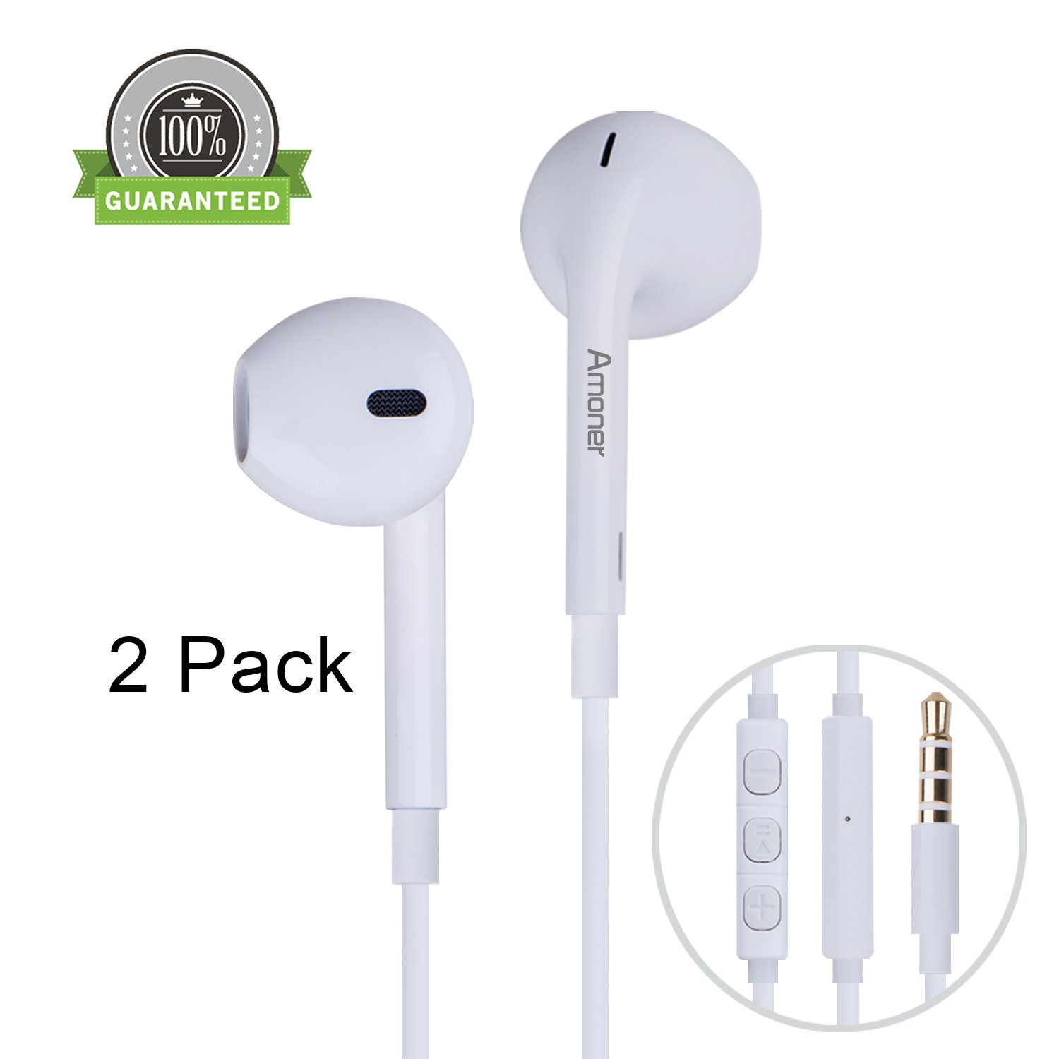 Amoner 2 Pack Premium Earphones/Earbuds/Headphones with Stereo Mic & Remote Control for iPhone 6S/iPhone 6, iPhone 6 Plus,iPhone 5s 5c 5, iPad /iPod and more(White)