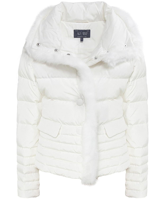 Armani Jeans Pelz-Trim Puffa Jacke Weiß online bestellen