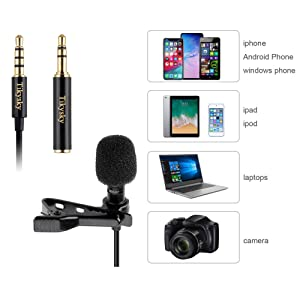 Lavalier Lapel Microphone,Tikysky Clip On Lav Mic for iPhone Android Cell Phone Smartphone Camera Vlog Interview Video Recording Podcast (Color: Black)