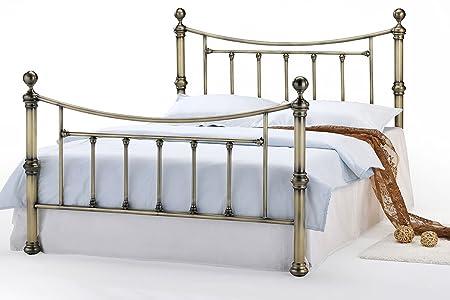 Stratford Moderne Luxus aus Metall im Antik Messing Viktorianischer Stil Bett Double oder King Size von Bettlatten Sleep Design, metall, schwarz, Double 4FT6