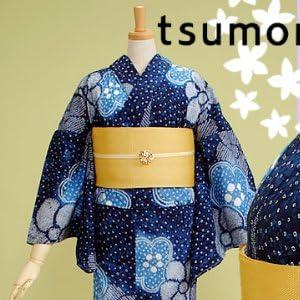 tsumori chisato(ツモリチサト)ブランド浴衣単品「やや濃いめの紺 絞りの大きな梅」
