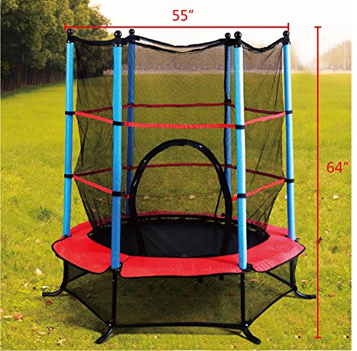 Discover Bargain Giantex Exercise 55 Round Kids Youth Jumping Trampoline w/ Safety Pad Enclosure Co...