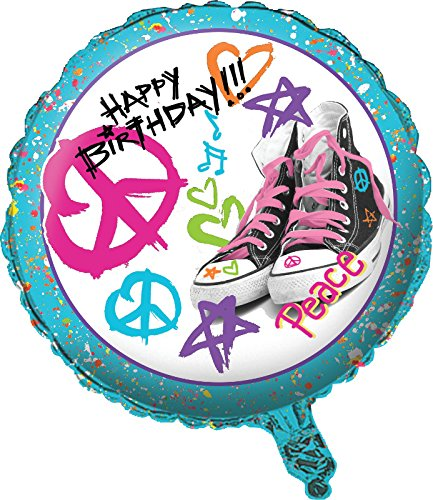 Creative Converting Happy Birthday Totally 80's Metallic Balloon, Multicolor
