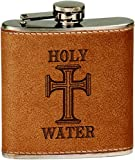Spiffy Custom Gifts Holy Water 6 oz. Stainless Steel Flask with Leather Cover