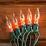 Flickering Flame String Lights, 50 Outdoor C7 Bulbs, 50 Foot Green Wire, End to End Connectable, Holiday Lights, Garden, Seasonal, Bulbs Included