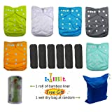 LilBit Baby Reusable Pocket Cloth Diapers, 6 pcs + 6 pcs Bamboo Charcoal Inserts (Color: Gray, Tamaño: one size)