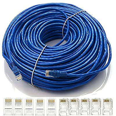 Masione®150FT/45M CAT5e CAT5 (Enhancement) RJ45 24AWG CCA 550MHz Male Connector Ethernet Internet LAN Network Patch Cable Snagless Router Wired Cable Cord with 10x Connetors