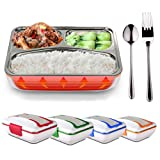 LOHOME Electric Heating Lunch Box - Insulated Lunch Box Bento Meal Heater Food Warmer Stainless Steel Portable Lunch Containers for Home & Office Use 110V with Free Spoon & Fork (Blue) (Color: Blue)