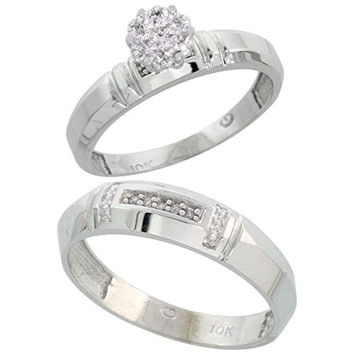 14ct White Gold 2-Piece Diamond Ring Set, 4mm Engagement Ring & 5.5mm Man's Wedding Band