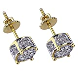 KingFurt Hip Hop Earring, 18k Bling Bling Gold Plated Silver Screw Back Stud Round Earrings For Men and Women