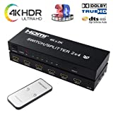 2x4 HDMI Splitter HDMI Switch Splitter 4 Out 2 in, NEWPOWER 2 in 4 Out HDMI Splitter with SPDIF Audio 3.5mm, Support HD 4K, 3D, 1080P (Color: HDMI Switcher Splitter 2x4, Tamaño: HDMI Switcher Splitter 2x4)