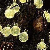 Annengjin®20 LED Solar Powered Fairy Lights Outdoor, White Crystal Globe Ball String Lights(Warm White)