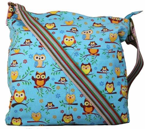 Ruby Tree Owl Slouchy Crossbody Bag in Light Blue