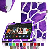 Fintie Slim Fit Leather Cover Folio Case for 8.9 inch Amazon Kindle Fire HDX - Giraffe Purple