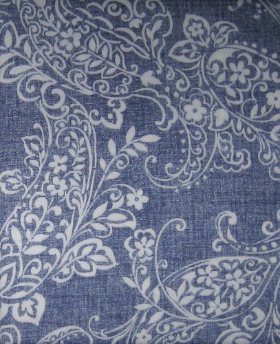 Denim Look With White Paisley Bandana Print Cotton Shower Curtain