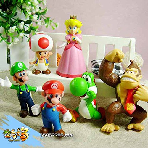 Susenstone® 6pcs Brand Mini Super Mario Bros 1.5~2.5' Action Figures Doll Toy Gifts (Super Mario Plush Toys Collection compare prices)