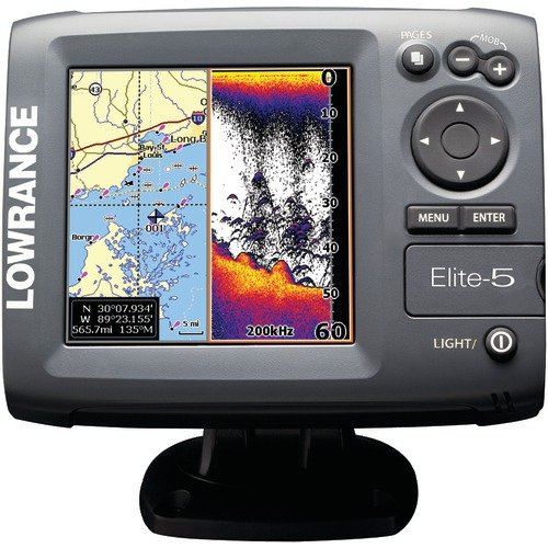 Fish finder chartplotter lowrance 000 00104 001 elite 5 for Lowrance fish finder gps