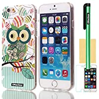 Oksobuy® Apple Iphone 6 plus(4.7 inch) Case Soft Smooth Transparent TPU Material with Classic Unique Owl Glitter Shimmering Bling Powder Pattern High Impact Case Cover Skin Protection for Apple Iphone 6(4.7 inch) with Screen Protector and Stylus from by