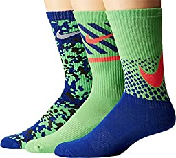 Nike Boys Graphic Cotton Cushion Crew 3 Pack Socks Medium Deep Royal Blue/Green Pulse 5Y-7Y