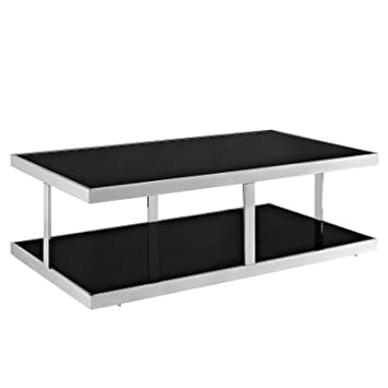 LexMod Absorb Stainless Steel Coffee Table